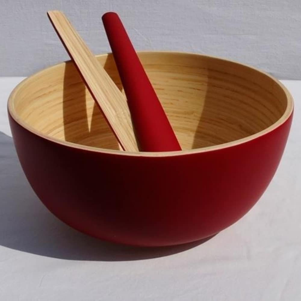 salad bowl and salad server made from sustainably-harvested bamboo