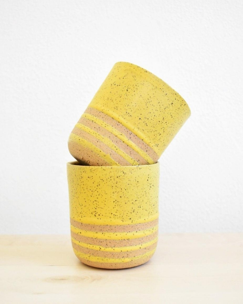 mustard colored Stripes Speckled Stoneware Sipper from Katie Mudd