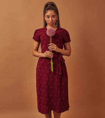 Merlot fair trade wrap dress