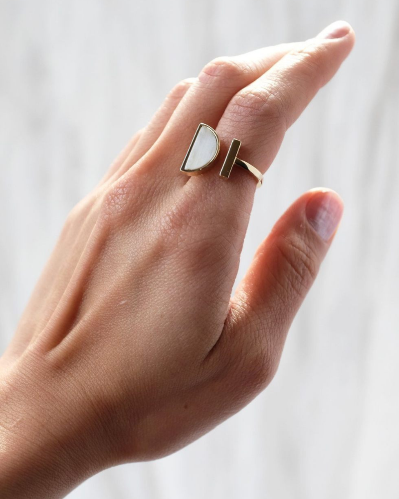 Add a timeless cycled jewelry piece to your collection with this Hathorway Horn Cresent Ring