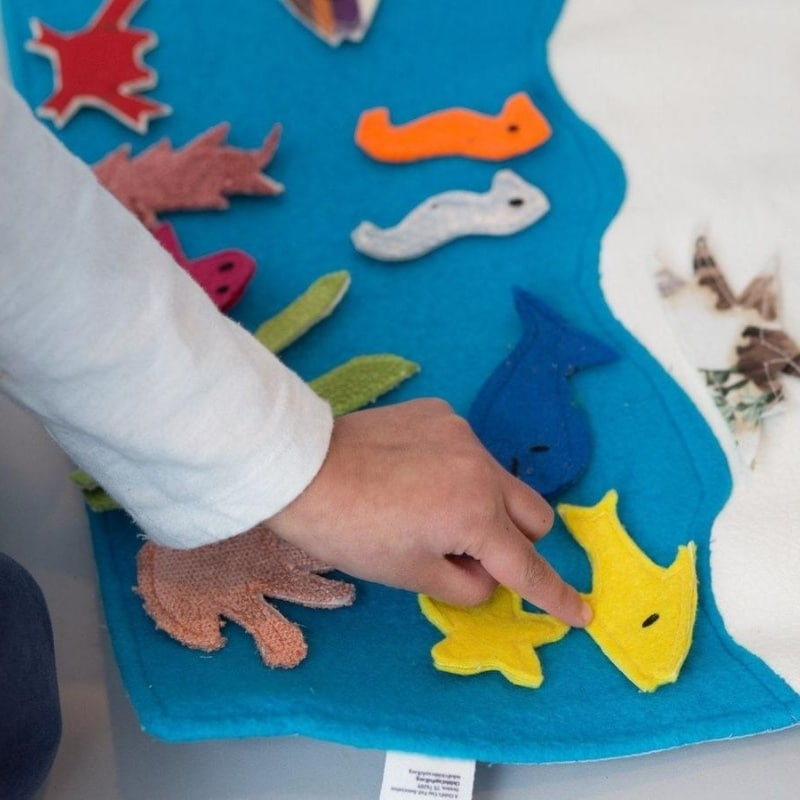Sea habitat storyboard made from soft cotton felt