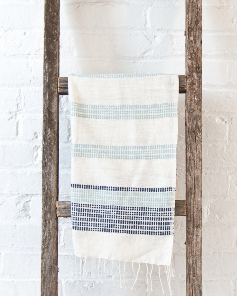 azure and navy cotton hand towel
