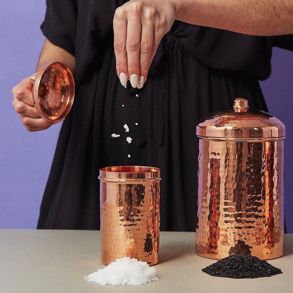 copper kitchen canisters made from 100% recycled copper