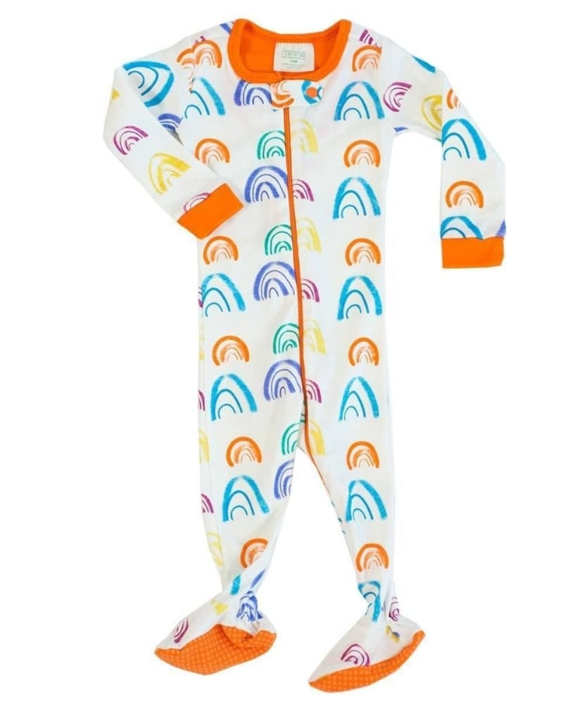GOTS-certified organic cotton baby footed onesie printed with AZO-free dyes