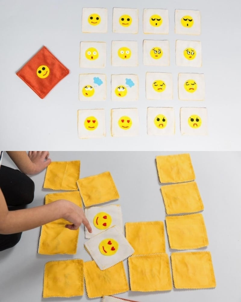 plastic free emotions memory game made from upcycled cotton