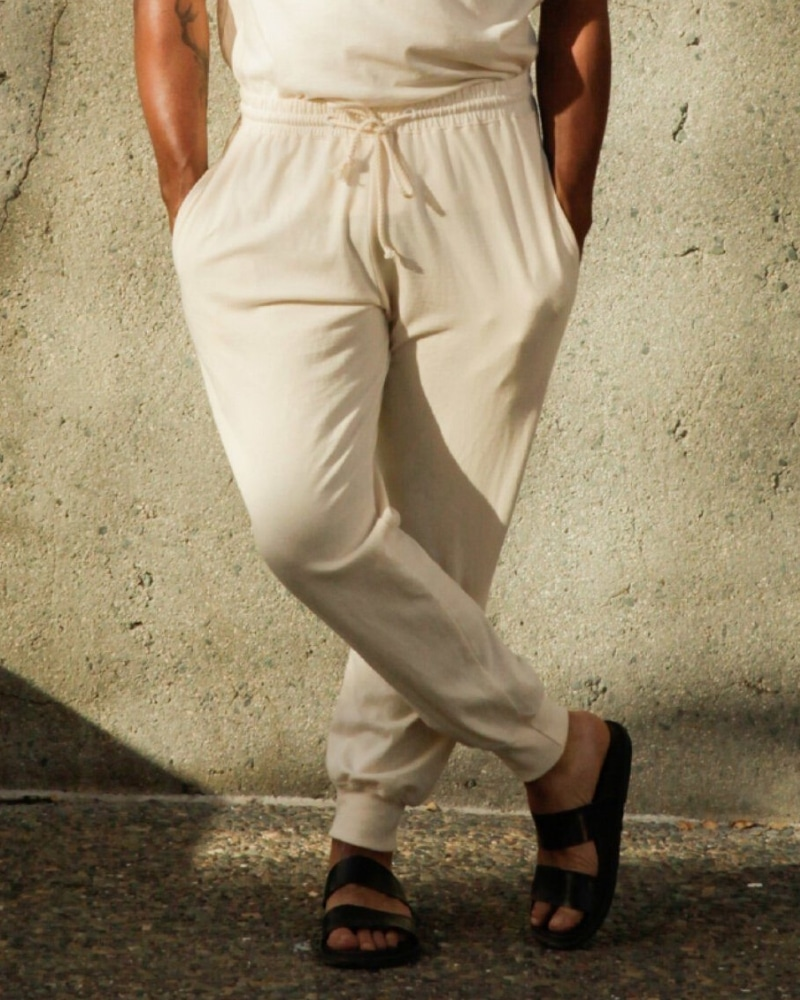Harvest & Mill's undyed natural jogger pants