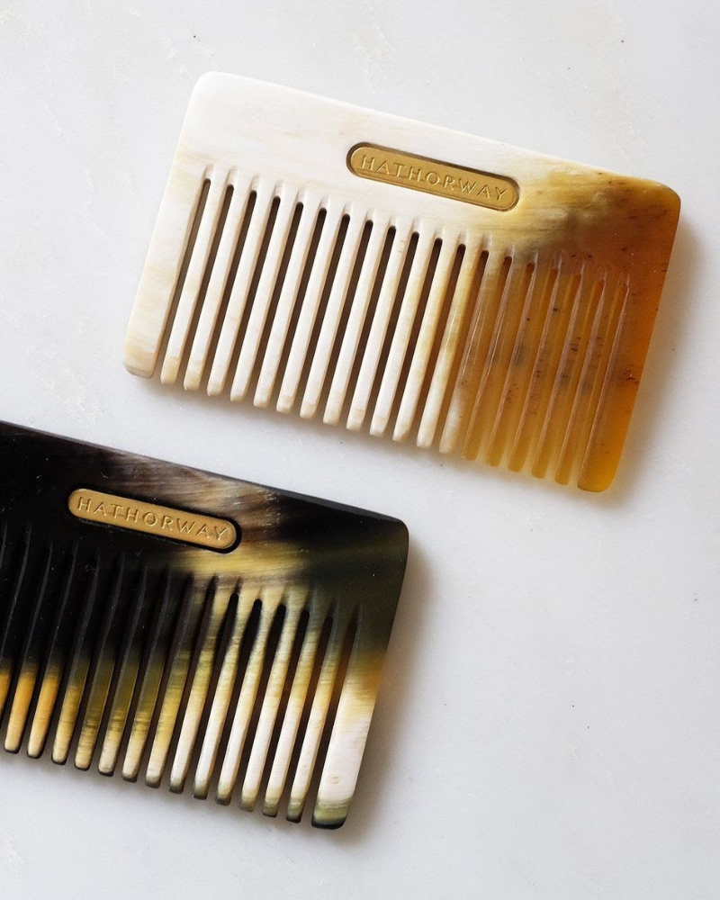 Horn jewelry isn't the only thing Hathorway makes. Buffalo horn hair combs are the product Thuy Ung is most famous for.