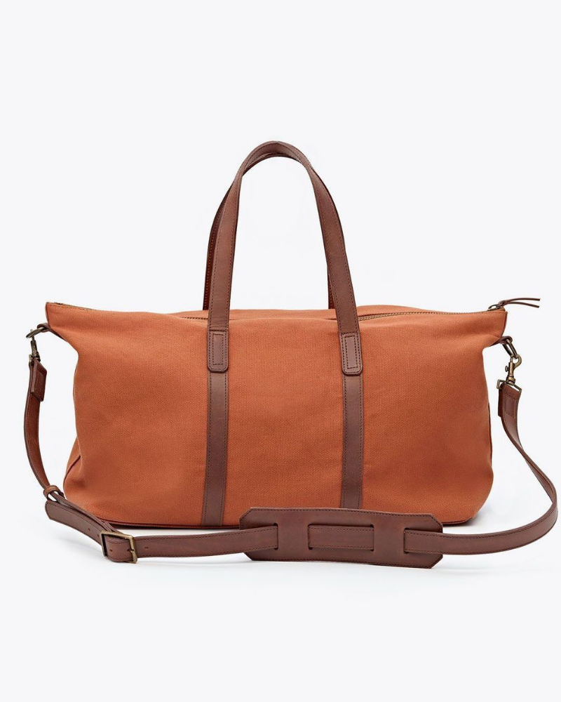Brown canvas tote back