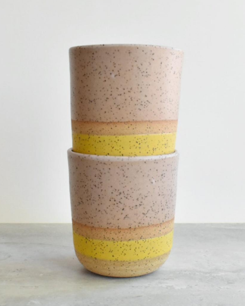 Katie Mudd tan and yellow stoneware sipper cups