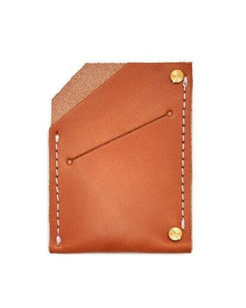 Sustainable gift for him - veg-tanned leather wallet in tan