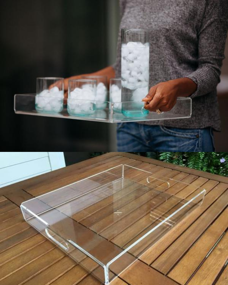 Clear tray made with 100% recycled Italian acrylic