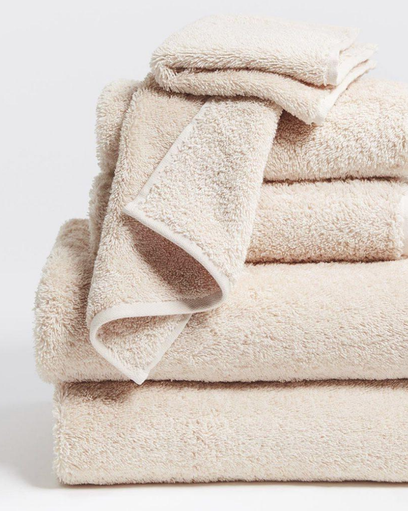 Cloud loom organic cotton towels in light blush