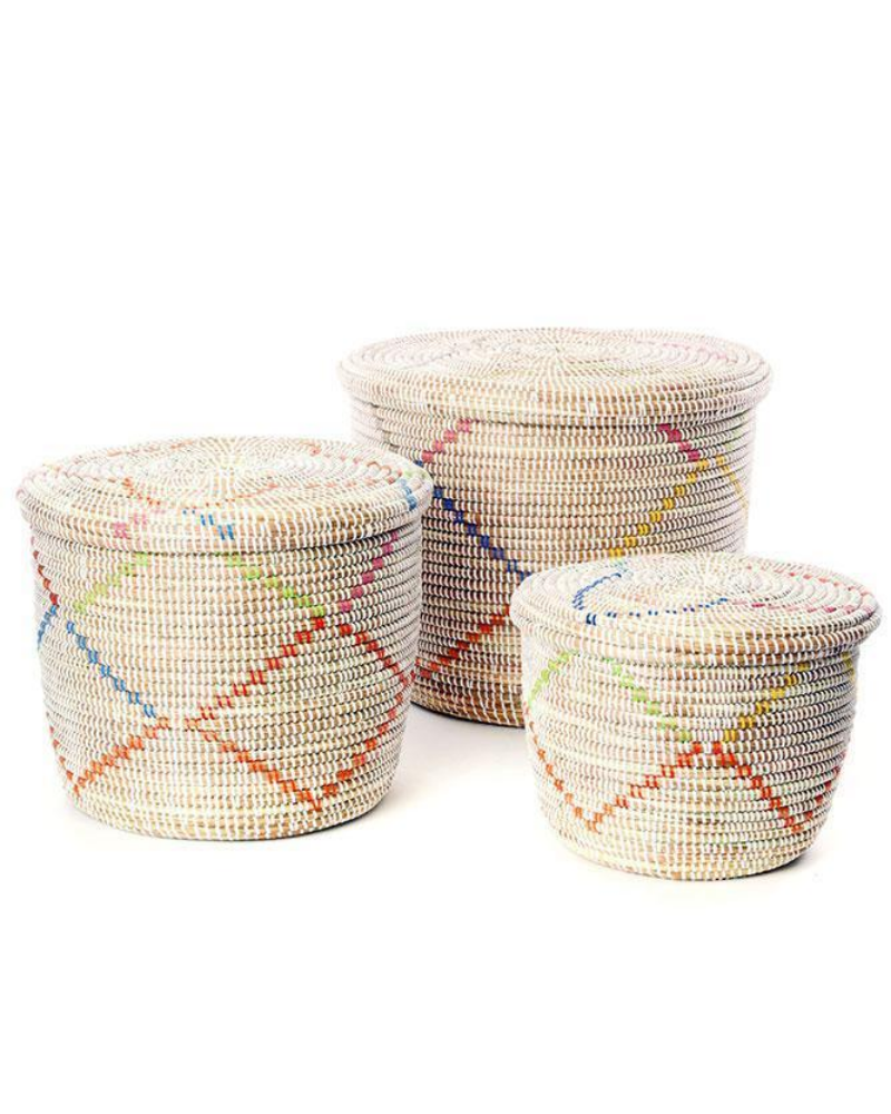 Fair trade rainbow garland storage baskets