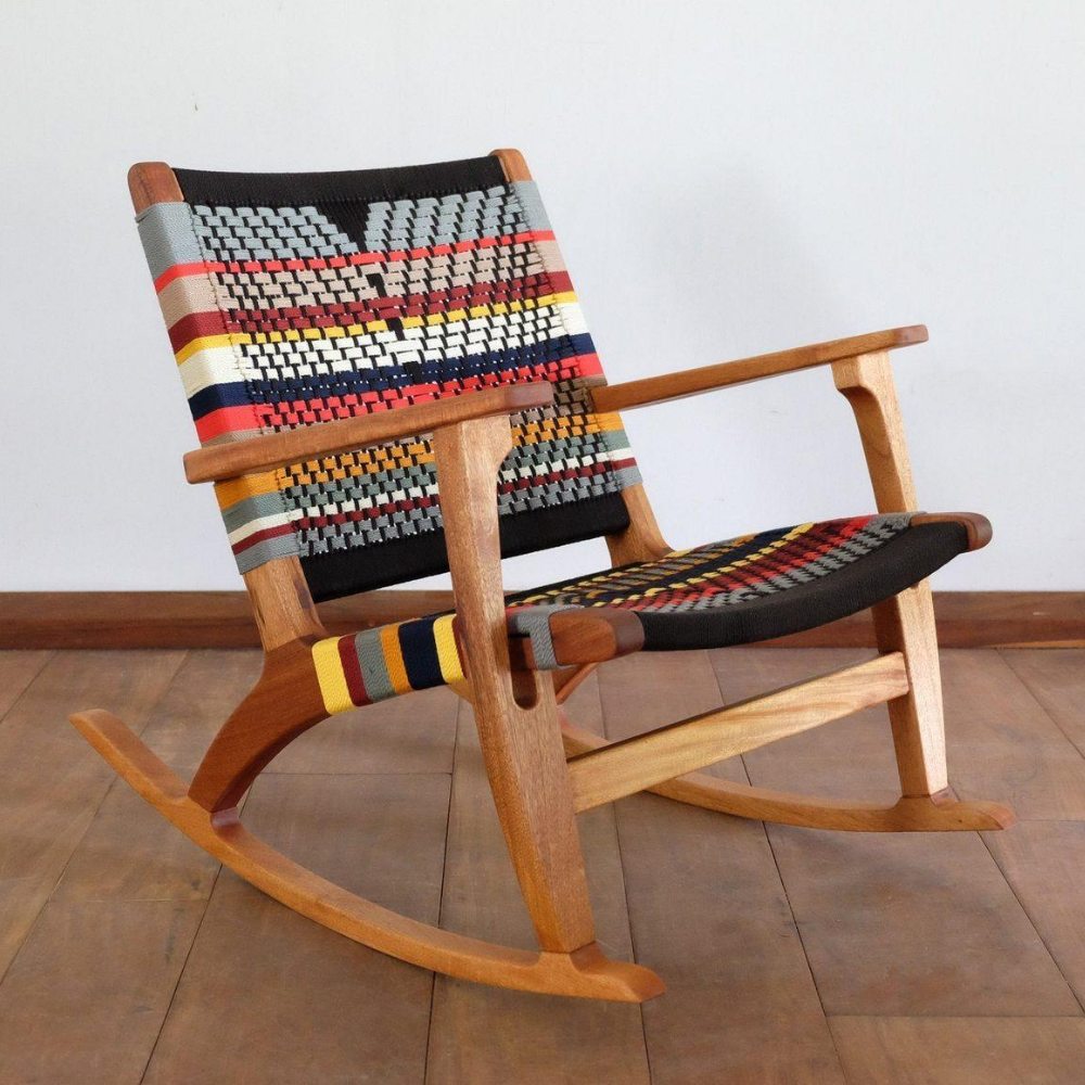 Sustainable colorful mahogany rocking chair for an eco-friendly nursery