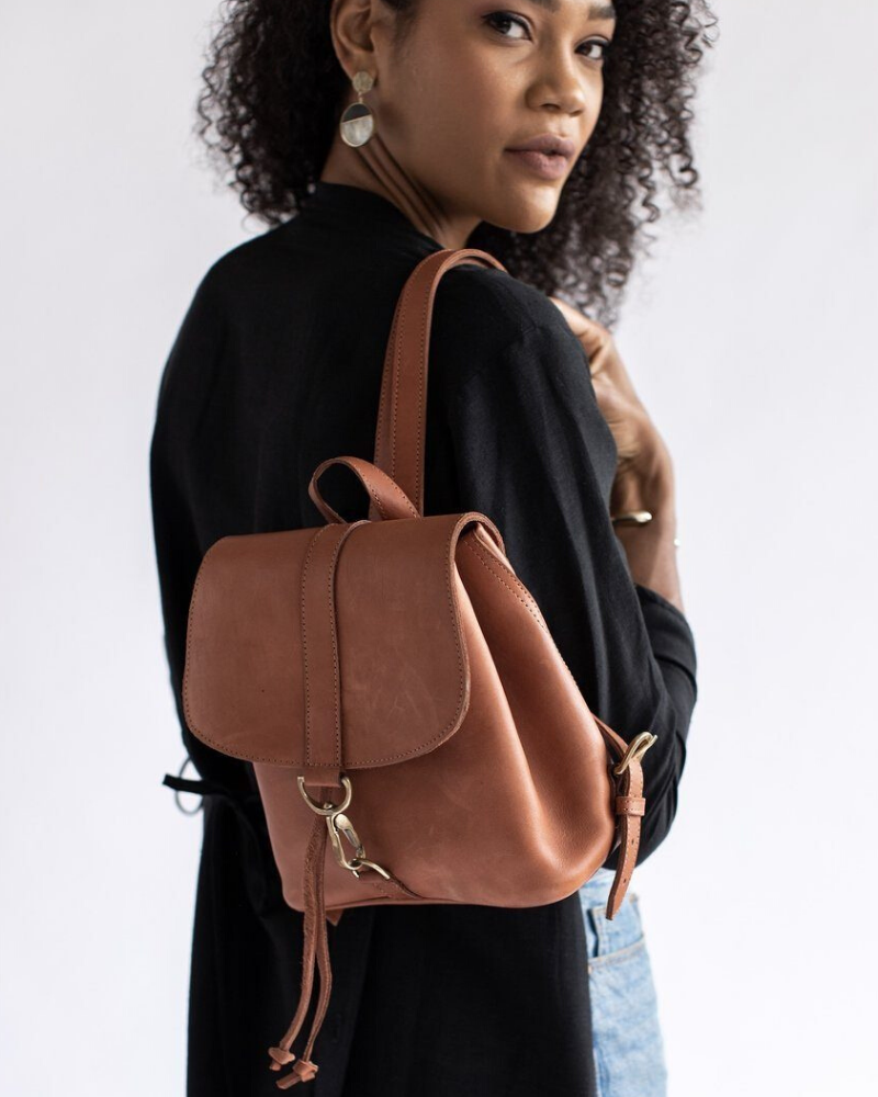 Abby Alley Mini Backpack in Warm Chestnut Hue