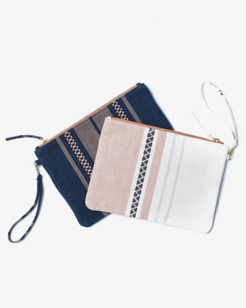 Navy and pink striped vegan clutch bags from Bloom & Give