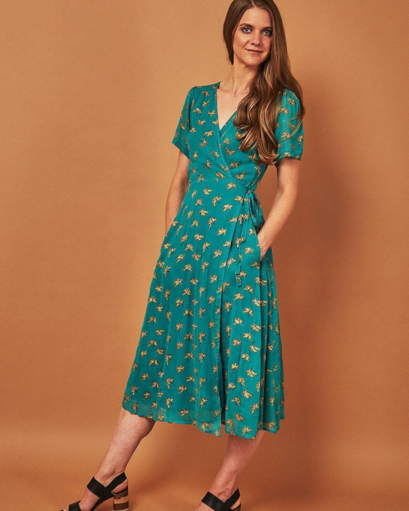 Symbology fair trade midi wrap dress in emerald and gold