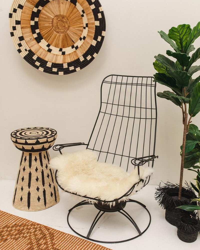 Woven side table with a metal chair