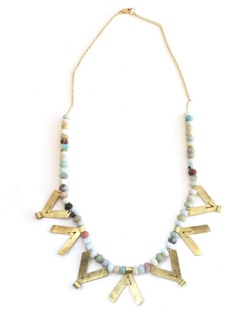 Gold necklace with beads