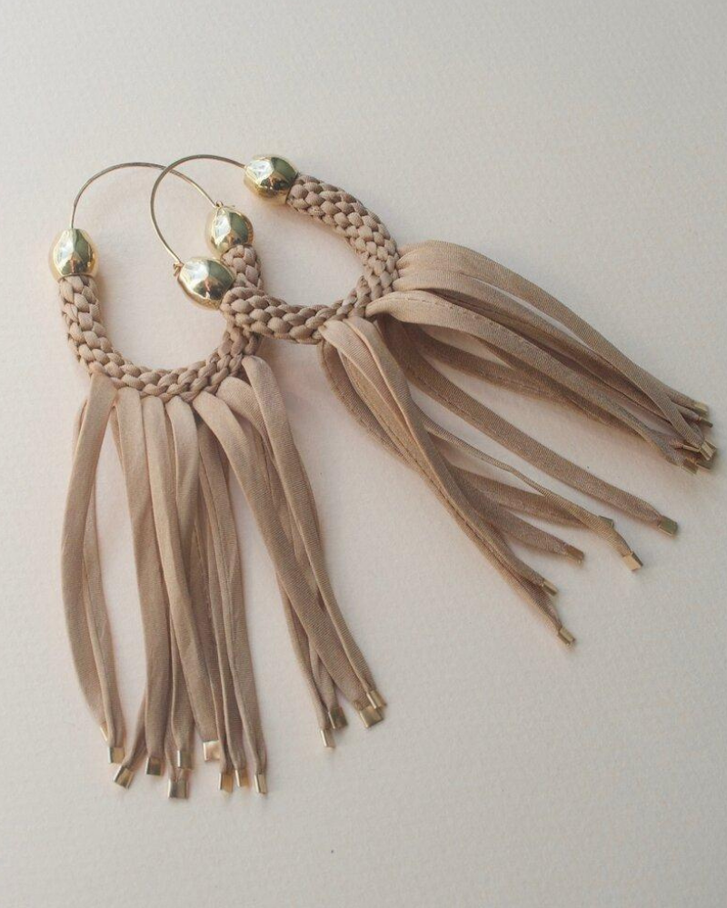 Taupe statement fringe earrings