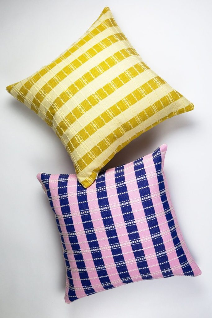 Archive New York Santiago Grid Pillow Butter 18x18 Archive New York 427694 1500x