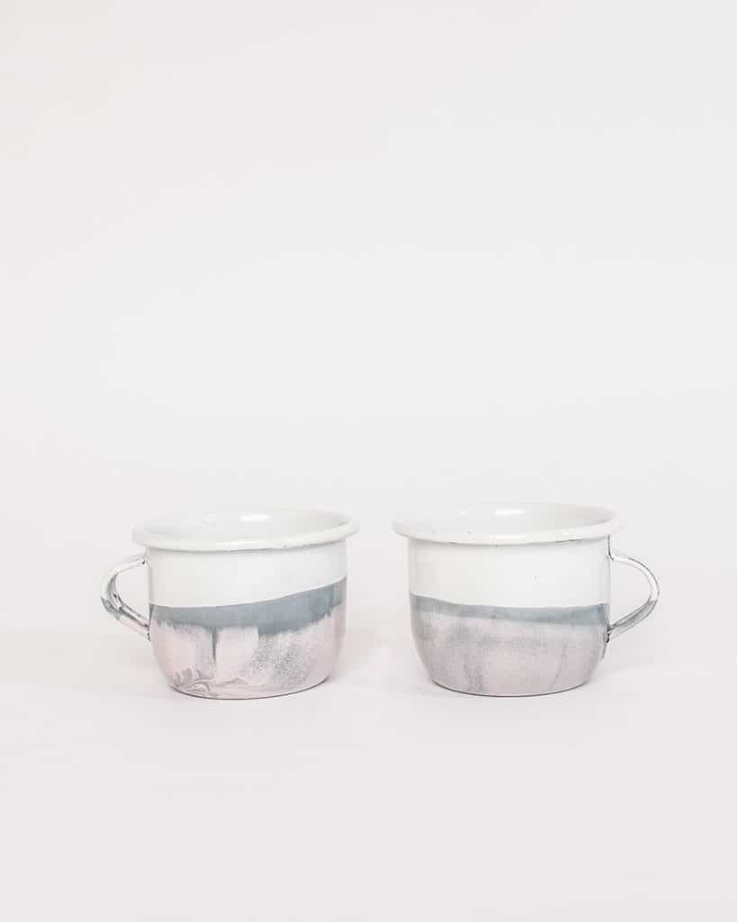 Two white and gray mugs