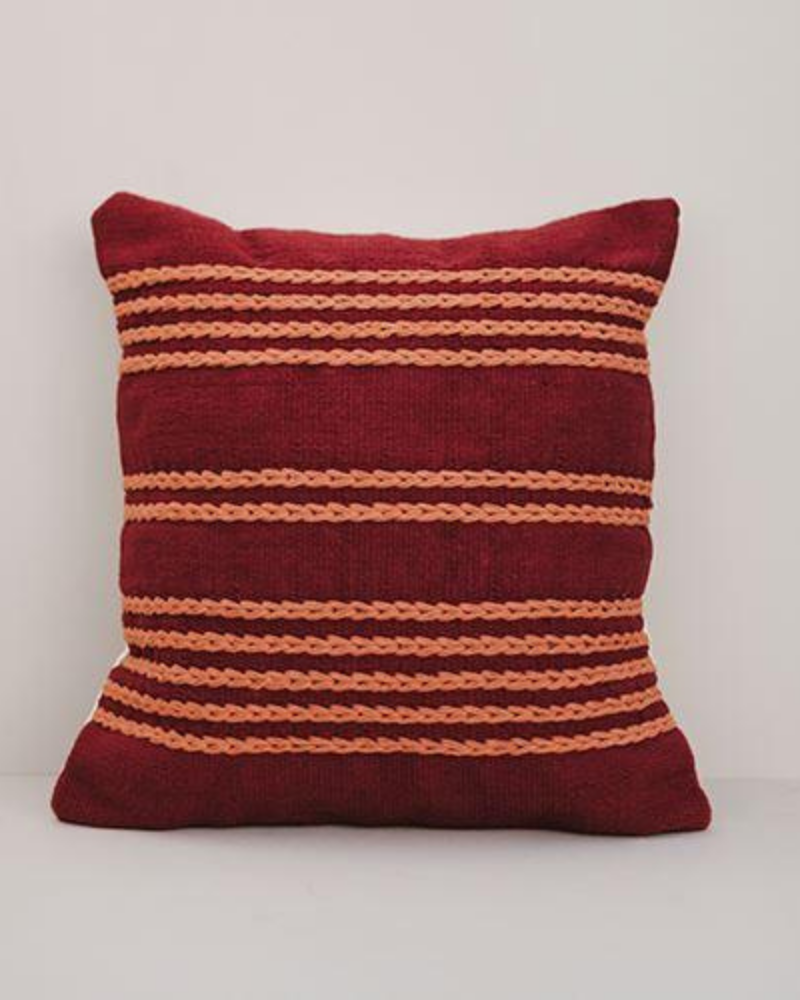 Burgundy Meadow Throw Pillow Cover