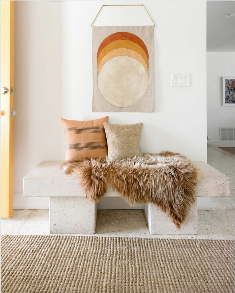 A wall hanging linen with warm toned geometric circles