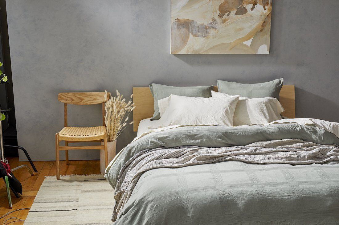 Coyuchi Organic Muted Blue Bedding