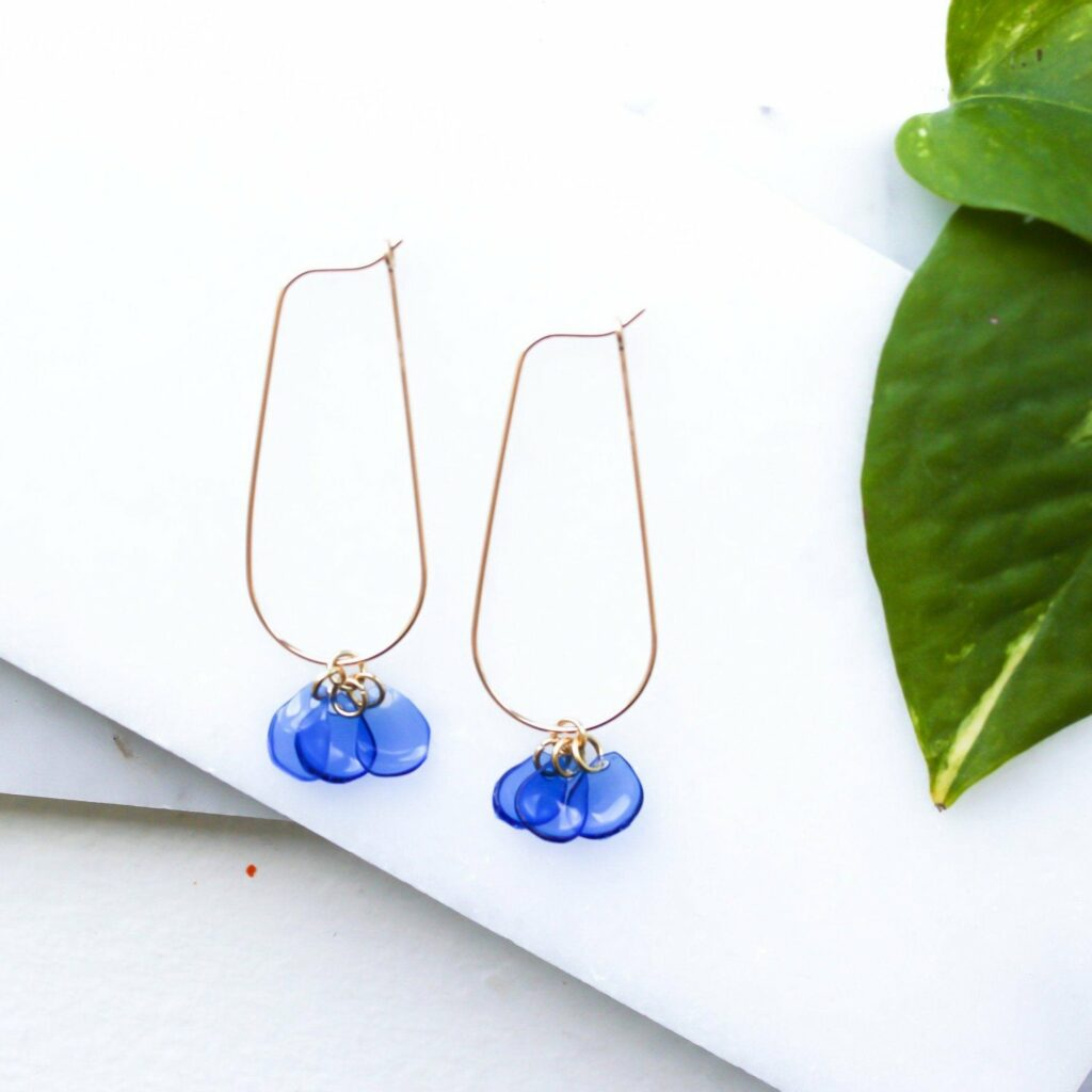 Giulia Letzi Meta Jewelry Sustainable Customizable 14k Gold Filled Blue Drops Earrings Handmade With 100 Recycled Materials Floral Pendant Up Cycled Light Dangle Drop Ear 200959
