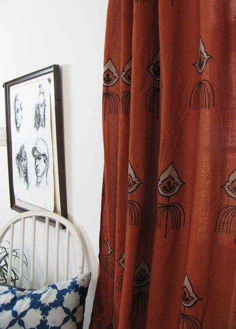 Coral rust colored curtains