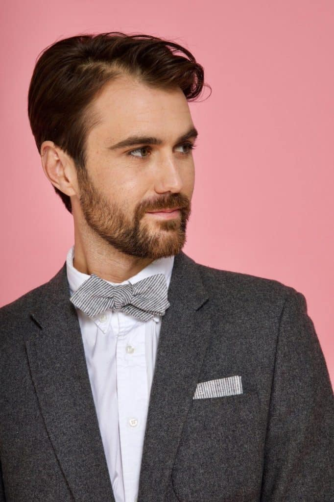 Kathrine Zeren Grey White Stripe Bow Tie