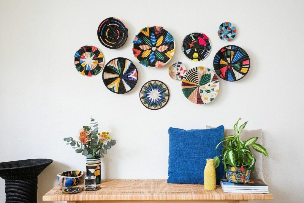 Fair trade wall decor woven wall baskets colorful flowers bold