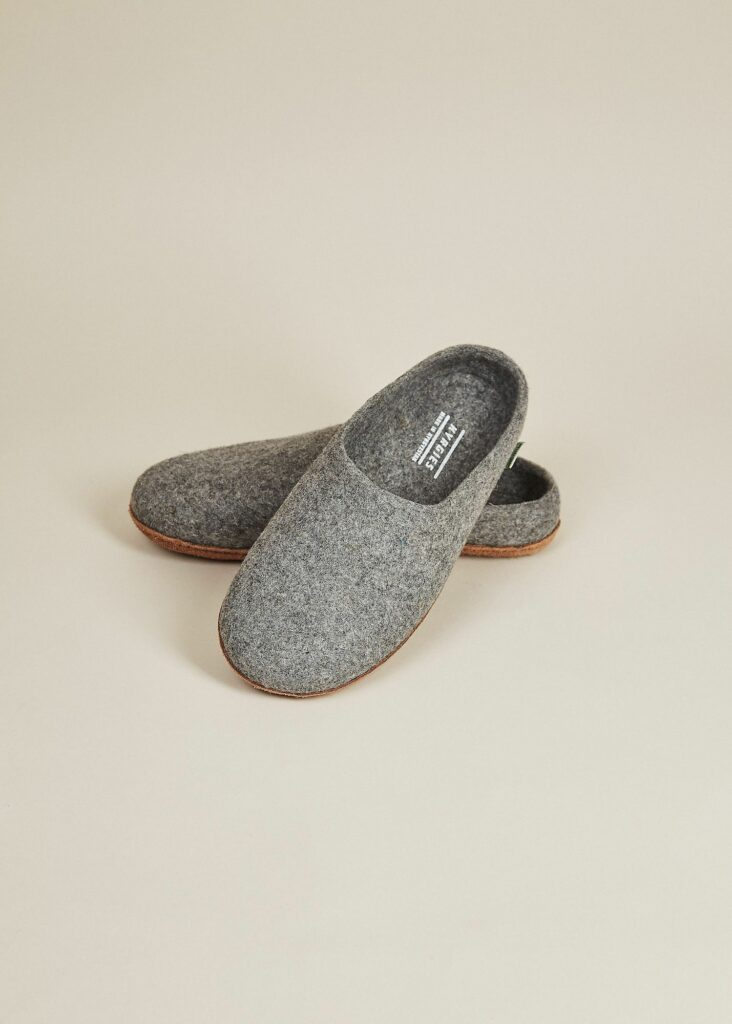 Mens All Natural Sole Wool Slippers With Low Back Gray Mens Shoes Kyrgies 811844 1500x