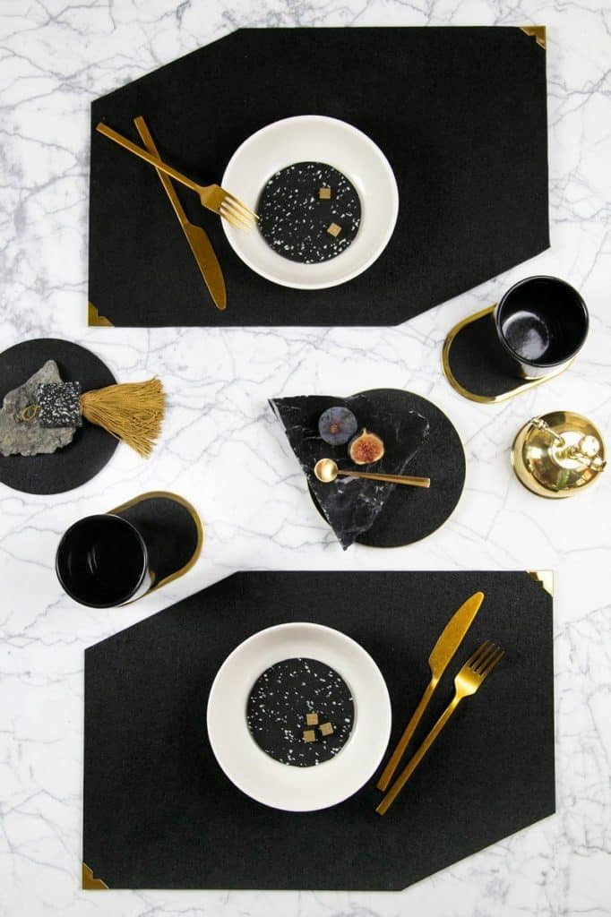 Slash Objects Pure Black Rubber Placemat - Sustainable Gifts for Him