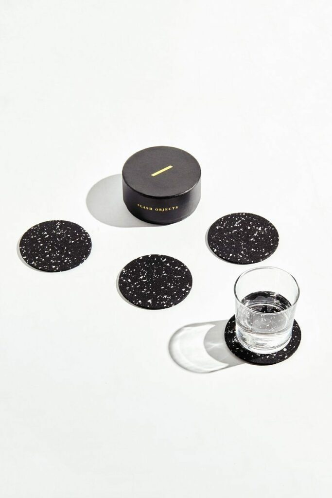 Slash Objects Round Rubber Coasters In Speckled Black Slash Objects 263041 1500x