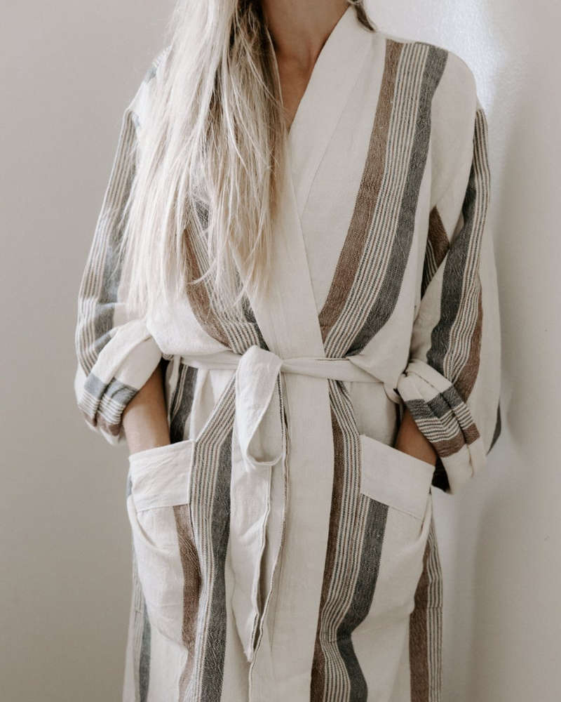 brown, gray and white striped turkish robe