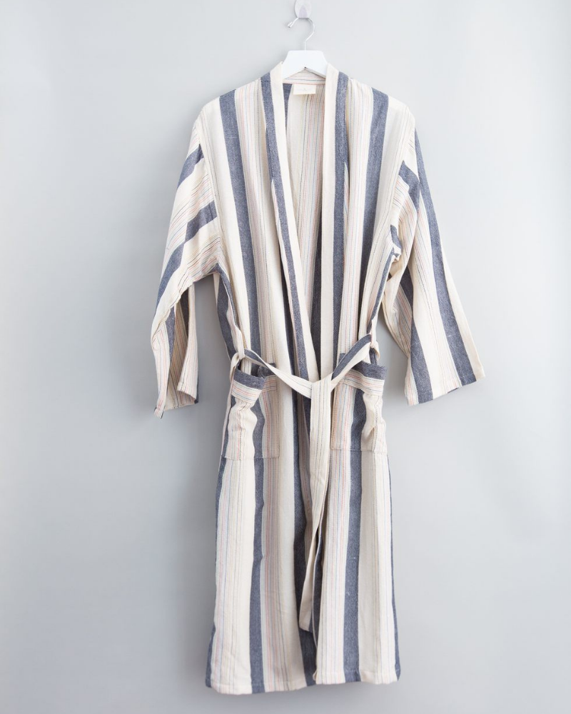 turkish robe with white and blue stripes