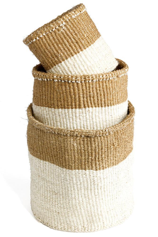 Set of 3 cream and tan baskets