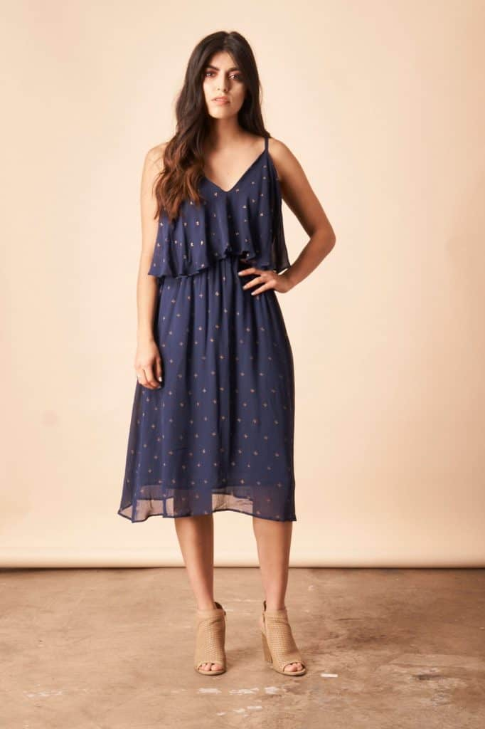 Symbology Baby Cacti Cropped Midi Dress In Navy Gold Dresses Symbology 408552 1500x