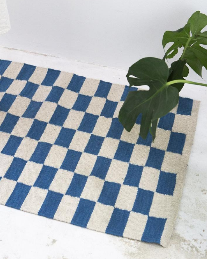 Zapotec Checkered Wool Rug - Blue + Ivory